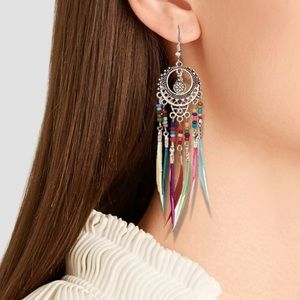 Antique Silver Colorful Feather Drop Earrings